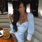 V-Neck Backless Fashion Solid Long Sleeve Bodycon Mini Dress