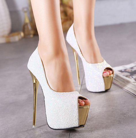 Sequins Platform Women Fashion Peep Toe High Heels Shoes