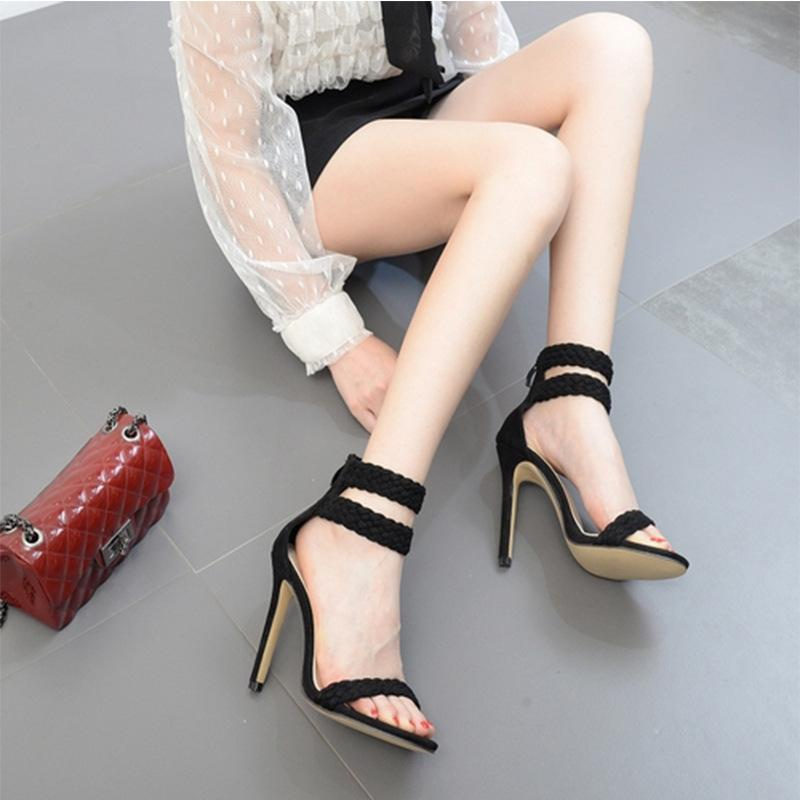 Back Zipper Weave Fashion Women Sandals Peep Toe High Heels Shoes