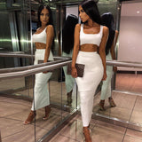 Solid U-Collar High Waist Skirt Set Two Piece
