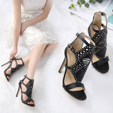 Hollow Buckle Women Fashion Peep Toe High Heels Shoes