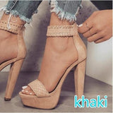 Zipper Platform Fashion Women Peep Toe High Heels Shoes