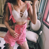 Fashion Edgy Distressed Pocket Denim Braces Shorts Romper Jumpsuit