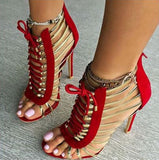 Hollow Strappy Women Fashion Peep Toe High Heels Shoes