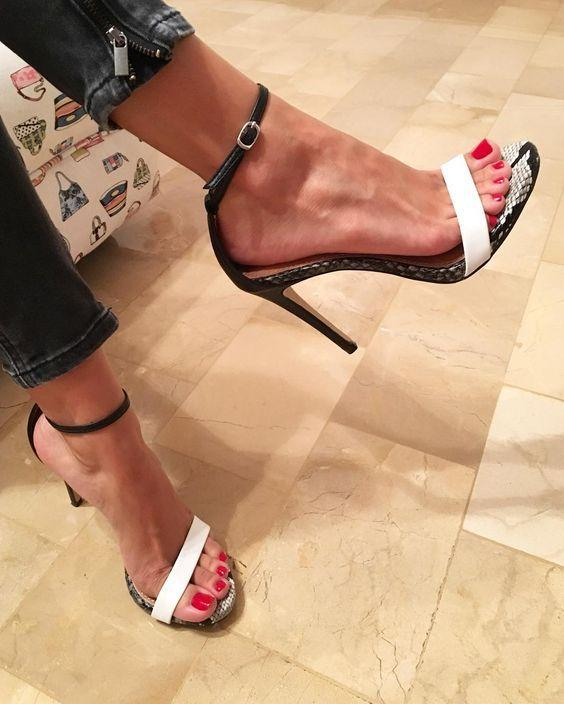 Snake Print Ankle Strap Women Fashion Peep Toe Sandals High Heels Shoes
