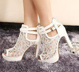 Lace Gauze Fashion Women Peep Toe High Heels Shoes