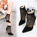 Hollow Zipper Fashion Women Pointed Toe High Heels Shoes