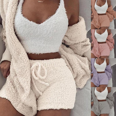 3PCS/Sets Sexy Fluffy Suits Velvet Plush Hooded Cardigan Coat+Shorts+Crop Top Women Tracksuit Casual Sports Overalls Sweatshirts