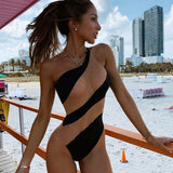 One-Piece Swimsuit Sexy One Shoulder Beachwear Solid Summer Holiday Bathing Suit Swimming Suit
