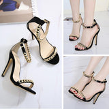 Chain Ankle Strap Women Fashion Peep Toe High Heels Shoes