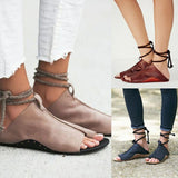 Strappy Fashion Women Leather Sandals Flats Shoes