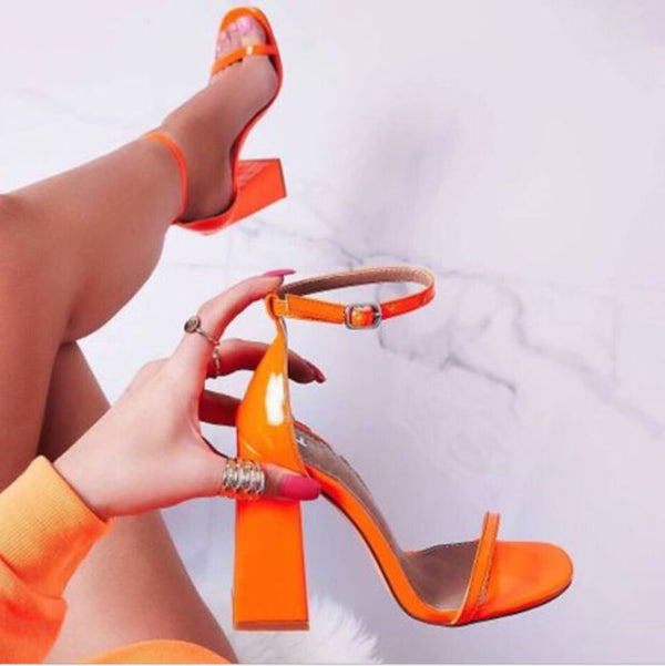 Hot Style Hot Selling Sexy Simple Word With Thick Heel Sandals Shoes