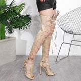 Hollow High Boots Fashion Women Peep Toe High Heels Shoes