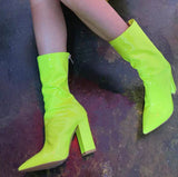 Hot Style Hot Selling Shiny Leather Pointed Thick High-heeled Boots Shoes
