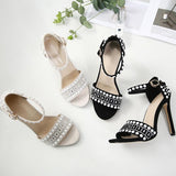 Ankle Strap Rhinestone Fashion Women Sandals Peep Toe High Heels Shoes