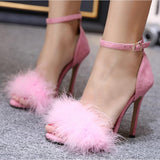 Fashion Villus Buckle Women Peep Toe High Heels Shoes