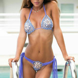 Hollow Rhinestone Halter Sexy Beach Bikini Set Swimsuit Swimwear