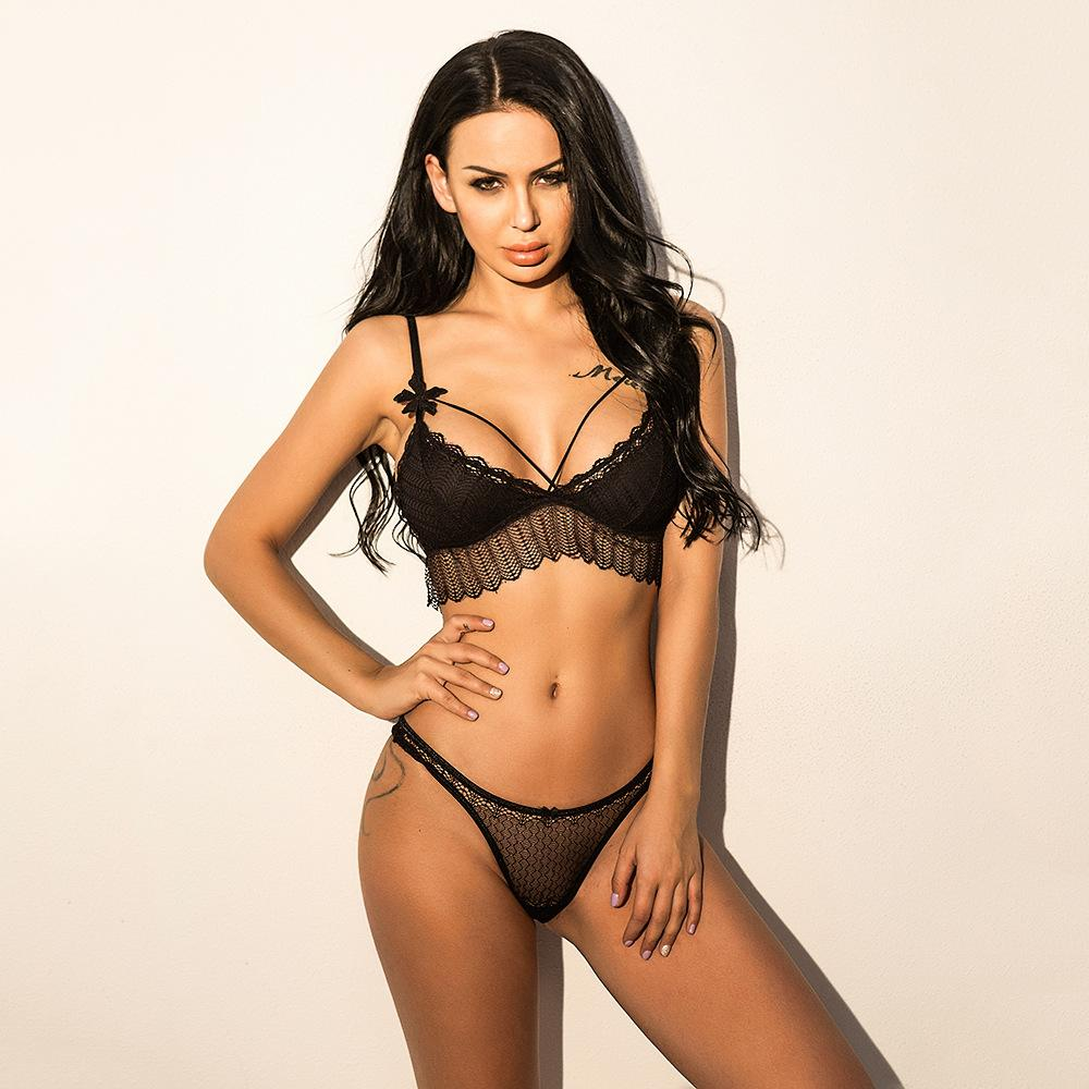 V-Neck Lace Hollow Underwear Lingerie Set