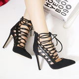 Crisscross  Strappy Hollow Fashion Women Pointed Toe High Heels Shoes