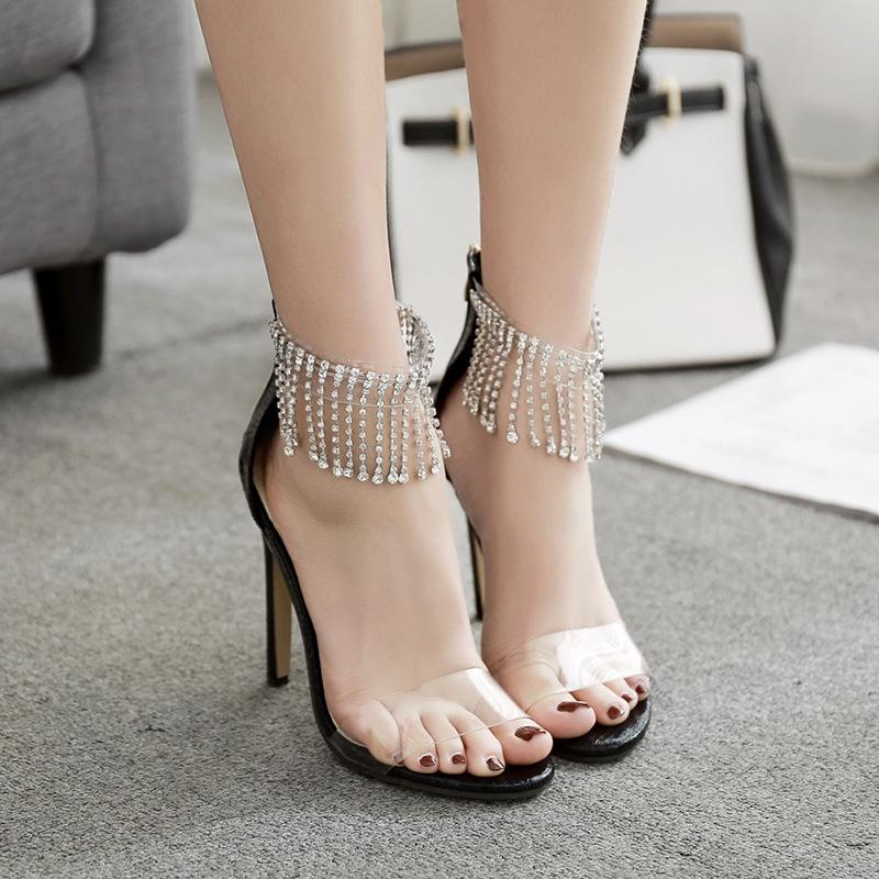 Rhinestone Zipper Fashion Women Peep Toe Sandals High Heels Shoes