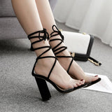 Strappy Fashion Women Peep Toe Sandals High Heels Shoes