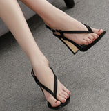 Hot Style Hot Selling Sexy Versatile Flip-toe Square Sandals Shoes