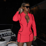 Solid Deep V-Neck Long Sleeve Zipper Bodycon Mini Dress