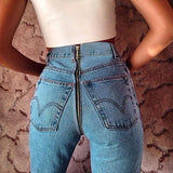 High Waist Zipper Tight Denim Pants Trousers