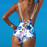 Crisscross Print Strappy Beach One Piece Swimwear Bikini Swimsuit