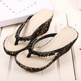 Sequins Women Fashion Beach Wedge High Heels Shoes