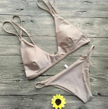 Strap Solid Color Beach Bikini Set Swimsuit Swimwear