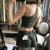 Strapless Solid Color Cami Crop Vest Tank Top