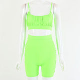 Neon Green Summer Two Piece Set Shorts Women Strap Ruched Crop Tops And Biker Shorts Sporty Outfit Tracksuit