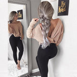 Women Fashion Casual Crochet Backless Long Sleeve V-Neck Top Sweater Knitwear