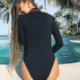 Women Fashion Letter Bodycon Long Sleeve One Piece Swimwear Bikini Swimsuit