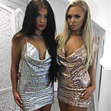 Deep V-Neck Halter Diamonds Tight Mini Dress