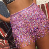 Sequins Tassels Fashion Multicolor Skirt