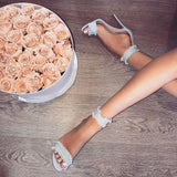 Denim Zipper Women Fashion Peep Toe High Heels Shoes