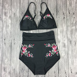 Flower Print High Waist Beach Bikini Set Swimsuit Swimwear