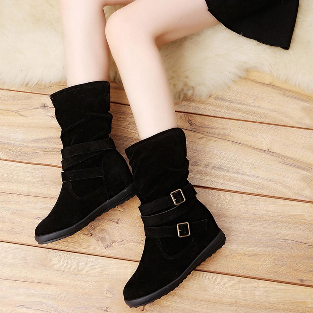 Buckle Fashion Women Snow Boots Shoes