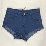 Zipper Back Ripped High Waist Denim Shorts