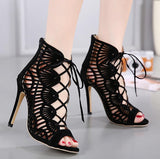 Hollow Strappy Women Fashion Peep Toe Sandals High Heels Shoes