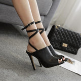 Crisscross Buckle Fashion Women Peep Toe High Heels Shoes
