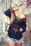 Gauze Lace Long Sleeve Tunic Shirt Top Blouse