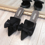 Bow Pointed Toe Fashion Women Slipper Mules Shoes