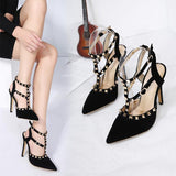 Rivets Buckle Fashion Women Pointed Toe High Heels Shoes