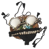 Crochet Shell Halter Beach Bikini Set Swimsuit Swimwear