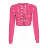 Sexy Hollow Out Bandage Tops Women Neon Color Ribbed Knitting Tee Shirt Female Club Party Street Casual Wear