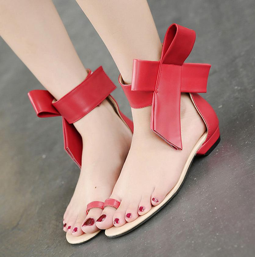 Bow Hollow Fashion Women Sandals Flats Shoes