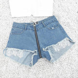 Zipper Lace Hole Denim Shorts